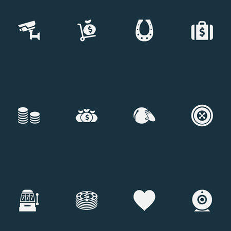 Vector Illustration Set Of Simple  Icons. Elements Portfolio, Rate, Addiction And Other Synonyms Camera, Supervision And Music. Ilustrace