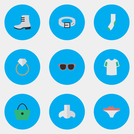Vector Illustration Set Of Simple Equipment Icons. Elements Woman Bag, Strap, Boot And Other Synonyms Ring, Nose And Waist. Иллюстрация