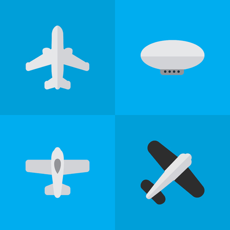Vector Illustration Set Of Simple Airplane Icons. Elements Aviation, Plane, Balloons And Other Synonyms Airliner, Aviation And Balloons.