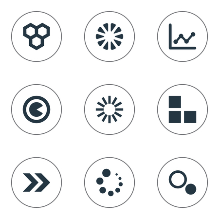Vector Illustration Set Of Simple Diagram Icons. Elements Loading, Hive, Piece And Other Synonyms Information, Surge And Statistic.