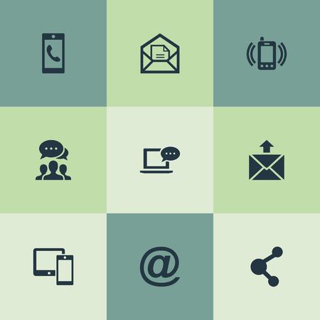 Vector illustratie Set van eenvoudige communicatie iconen. Elementen openen envelop, smartphone bellen, e-mail symbool en andere synoniemen apparaat, laptop en inkomende.