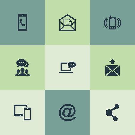 Vector Illustration Set Of Simple Communication Icons. Elements Open Envelope, Smartphone Calling, E-Mail Symbol And Other Synonyms Device, Laptop And Incoming.