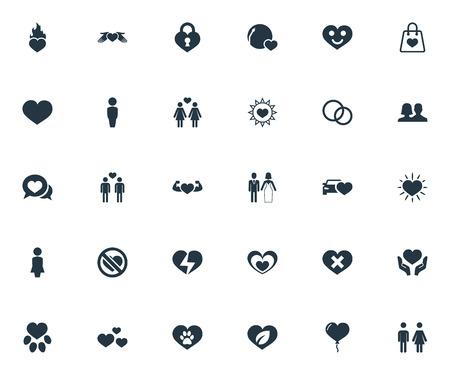 벡터 일러스트 레이 션 간단한 발렌타인 아이콘의 집합입니다. 요소 사랑, 상처, 웃는 사랑과 다른 동의어 동성애, 비 탄 및 인간. 일러스트
