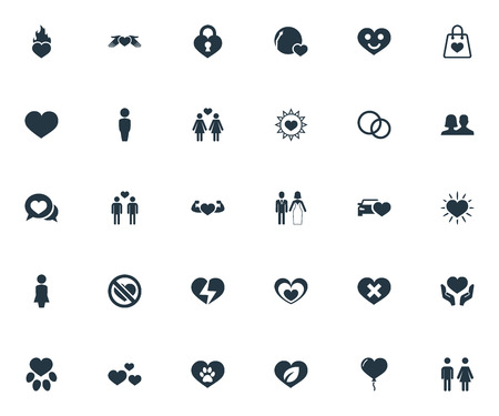 Vector Illustration Set Of Simple Valentine Icons. Elements Love, Wounded, Smiling Love And Other Synonyms Homosexual, Heartbreak And Human. Stock Vector - 83659943
