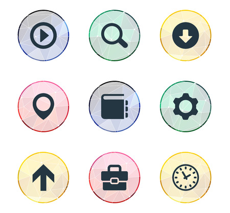 Vector Illustration Set Of Simple Web Icons. Elements Magnifier, Suitcase, Upload And Other Synonyms Play, Upload And Office. Illusztráció