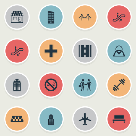 Vector Illustration Set Of Simple Infrastructure Icons. Elements Kiosk, Dumbbell, Skyscraper And Other Synonyms Rope, Skyscraper And Intersection.