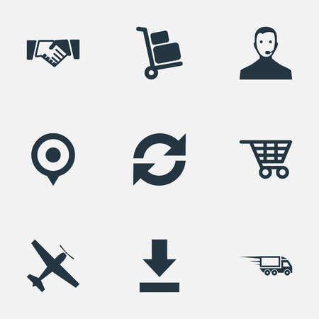 Vector Illustration Set Of Simple Engineering Icons. Elements Refresh, Supporting, Transportation And Other Synonyms Trolley, Baggage And Arrow. Illusztráció