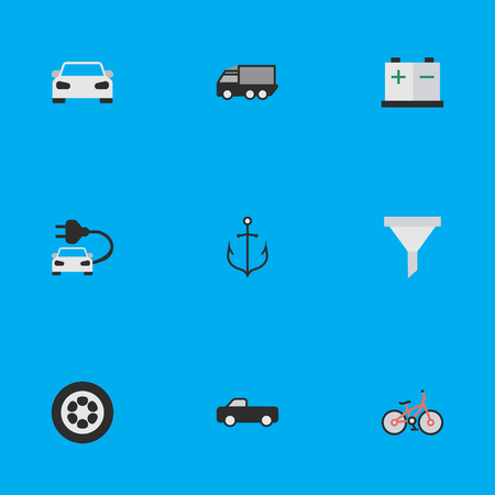 Vector Illustration Set Of Simple Transportation Icons. Elements Charge, Lorry, Wheel And Other Synonyms Car, Strainer And Battery.