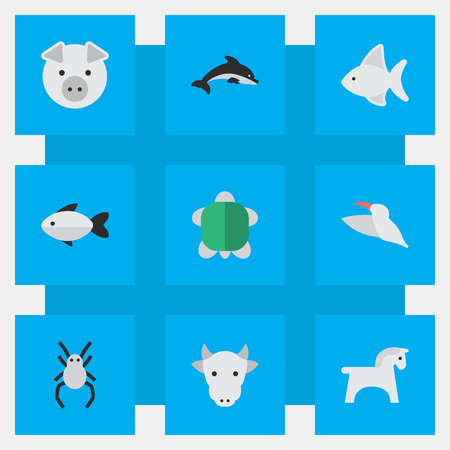Vectorillustratiereeks Eenvoudige Faunapictogrammen. Elementen Crane, Tortoise, Piggy en andere synoniemen Weduwe, spin en schildpad. Stock Illustratie