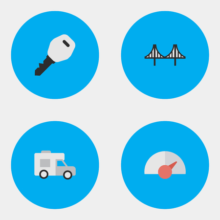 Vector Illustration Set Of Simple Transportation Icons. Elements Bridgework, Speed, Open And Other Synonyms Wagon, Jumper And Open.