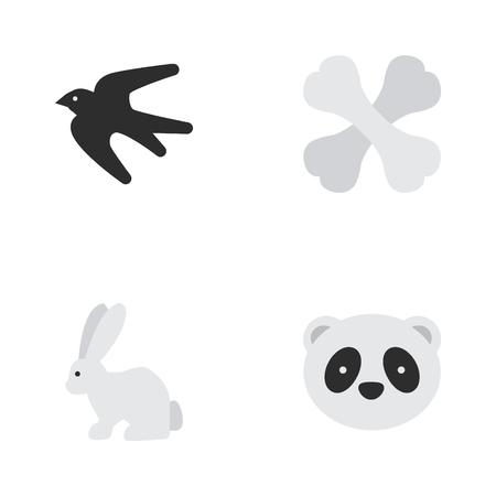 벡터 일러스트 레이 션 간단한 동물 군 아이콘의 집합입니다. 요소 참새, 해골, 토끼 및 기타 동의어 동물, 참새 및 해골.