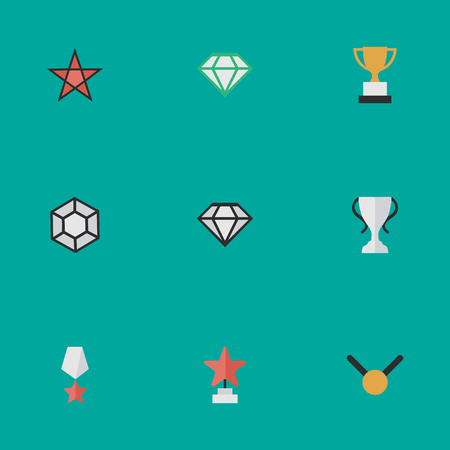 Vector Illustration Set Of Simple Trophy Icons. Elements Star, Medal, Gemstone And Other Synonyms Stone, Goblet And Precious. Illustration
