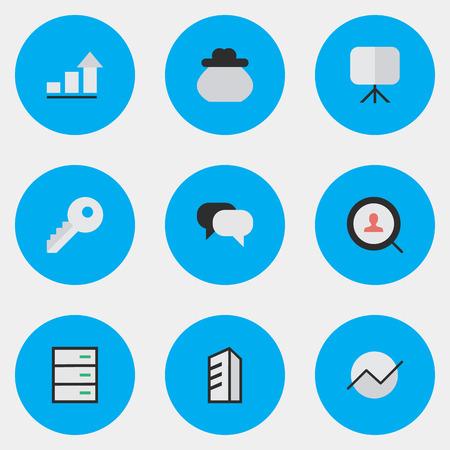 Illustration vectorielle définie des icônes simples de l'entreprise. Elements Drawer, Growing, Diagram And Other Synonymes sac à main, argent et serrure. Banque d'images - 83660279