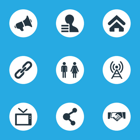 Vector Illustration Set Of Simple Network Icons. Elements Connection, Radio Tower, Cv And Other Synonyms Telly, Recruitment And Couple. Illustration