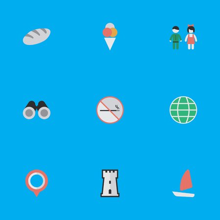 Vector Illustration Set Of Simple Vacation Icons. Elements Optical Zoom, Bakery, World And Other Synonyms Location, Love And Pin. Çizim