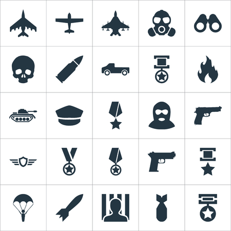 Vector Illustration Set Of Simple Combat Icons. Elements Shot, Medal, Gas Mask And Other Synonyms Space, Hat And Artillery.
