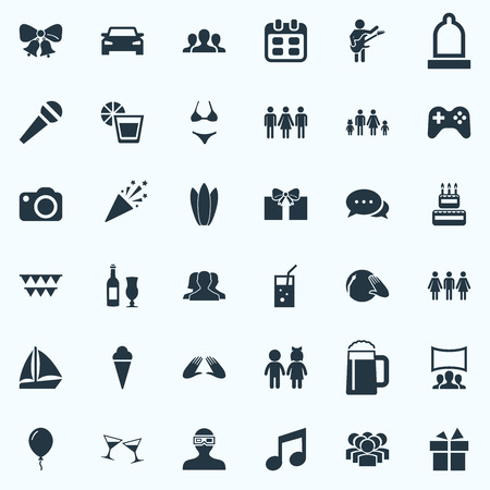 Vector Illustration Set Of Simple Party Icons. Elements Correspondence, Confetti, Team And Other Synonyms Palm, People And Photo.