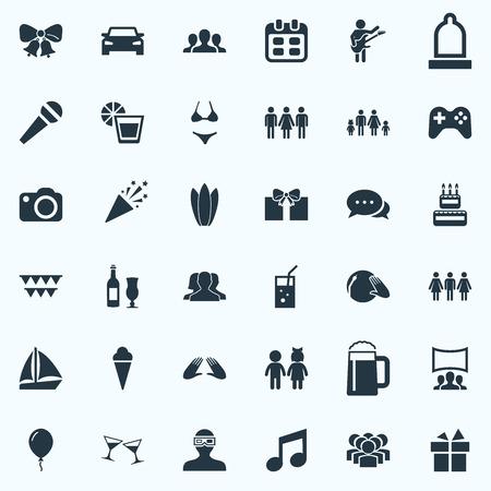 Vector illustratie Set van eenvoudige partij iconen. Elementencorrespondentie, Confetti, Team en andere synoniemenpalm, mensen en foto.