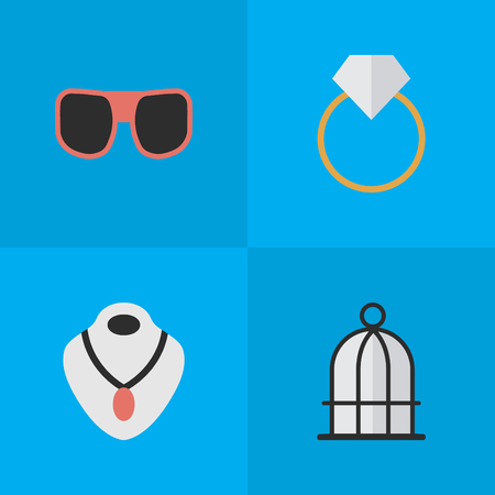 Vector Illustration Set Of Simple Equipment Icons. Elements Jewelry, Engagement, Eye Accessory And Other Synonyms Prison, Ring And Choker.