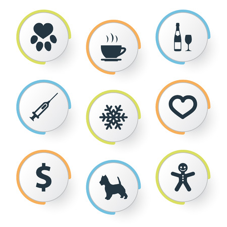 Vector Illustration Set Of Simple Colony Icons. Elements Hot Drink, Puppy, Love And Other Synonyms Dollar, Pet And Footprint.