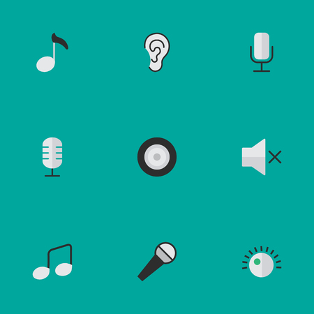 Vector Illustration Set Of Simple Melody Icons. Elements Note, Music Sign, Volume And Other Synonyms Regulator, Record And Volume.