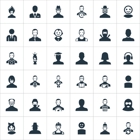 Vector Illustration Set Of Simple Human Icons. Elements Girl Face, Workman, Job Man And Other Synonyms Postgraduate, Member And Mustache.