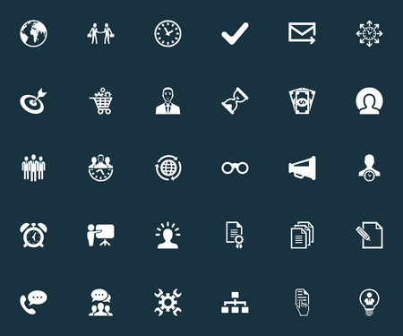 Vector Illustration Set Of Simple Plan Icons. Elements Industry, Employee, Goal And Other Synonyms Mail, Plan And Cash.