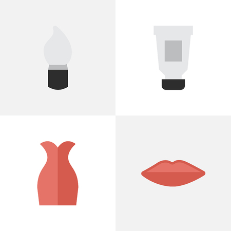 Vector Illustration Set Of Simple Beauty Icons. Elements Lips, Dress, Scrub And Other Synonyms Bottle, Lipstick And Garment.
