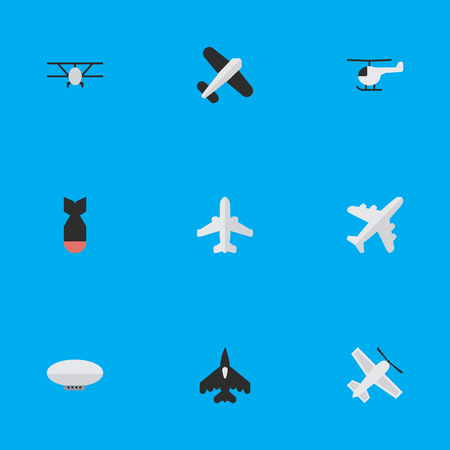 Vector Illustration Set Of Simple Plane Icons. Elements Aircraft, Balloons, Flying Vehicle And Other Synonyms Craft, Vehicle And Dynamite.