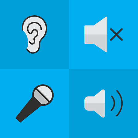 Vector Illustration Set Of Simple Music Icons. Elements Volume, Loudness, Mike And Other Synonyms Ear, Listen And Hear. Illustration