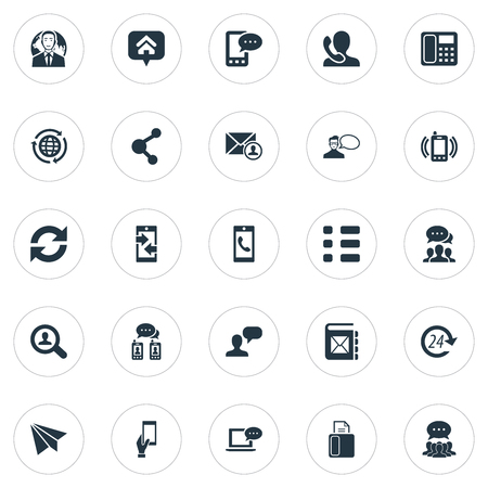 Vector Illustration Set Of Simple Connect Icons. Elements Talk, Intercommunication, Postal And Other Synonyms Service, Fax And Telefax. Illustration