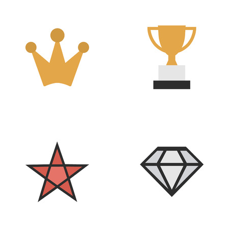 Vector Illustration Set Of Simple Champ Icons. Elements Diamond, First, Goblet And Other Synonyms Corona, First And Coronet.