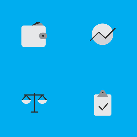 Vector Illustration Set Of Simple Trade Icons. Elements Diagram, Done, Justice And Other Synonyms Diagram, Done And Growing.