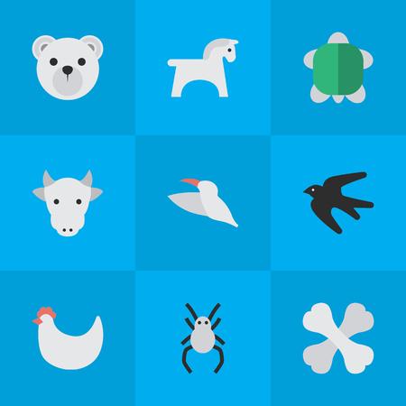 単純な動物アイコンのベクター イラスト セット。他の同義語のすずめ、すずめ、スティード要素タランチュラ蹄と雌牛。
