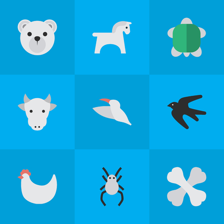 Vector Illustration Set Of Simple Fauna Icons. Elements Tarantula, Steed, Sparrow And Other Synonyms Sparrow, Hoof And Kine. Çizim