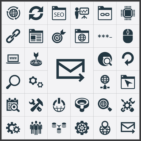 Vector Illustration Set Of Simple Search Icons. Elements Linkage, Password, Motherboard And Other Synonyms Zoom, Screwdriver And Construction.
