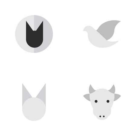 Vector Illustration Set Of Simple Wild Icons. Elements Cat, Tomcat, Kine And Other Synonyms Cat, Kine And Cow.