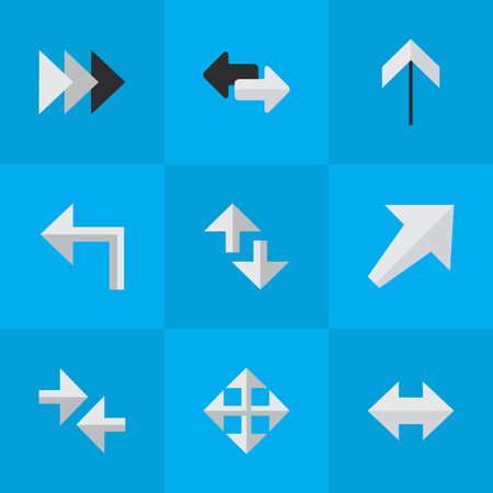 単純なカーソル アイコンのベクター イラスト セット。要素 Everyway、向き、エクスポートと他類義語先、ターンおよび南西。