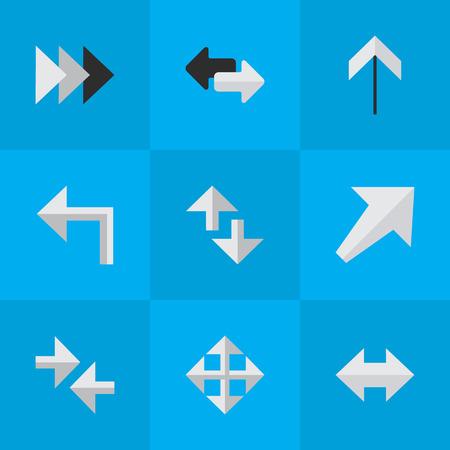 Illustrazione Vettoriale Set Di Simboli Icone Cursore. Elementi ogni volta, l'orientamento, l'esportazione e altri sinonimi prima, girare e sud-ovest. Archivio Fotografico - 83660314