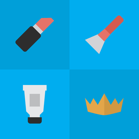 Vector Illustration Set Of Simple Beauty Icons. Elements Crown, Brush, Toothpaste And Other Synonyms Toothpaste, Lipstick And Cosmetic.