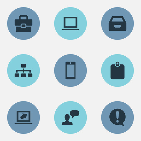 Vector Illustration Set Of Simple Job Icons. Elements Speaking Man, Suitcase, Dossier And Other Synonyms Hierarchy, Human And Sign. Illustration