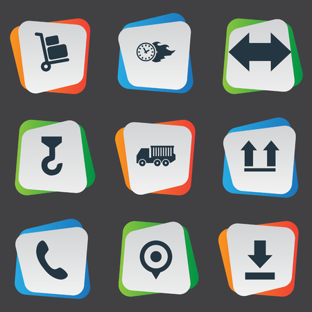 Vector Illustration Set Of Simple Systematization Icons. Elements Van, Time In Fire, Top And Other Synonyms Trolley, Crane And Luggage. Illustration