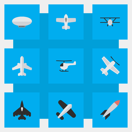 Vector Illustration Set Of Simple Aircraft Icons. Elements Aviation, Airliner, Balloons And Other Synonyms Copter, Airliner And Flying.
