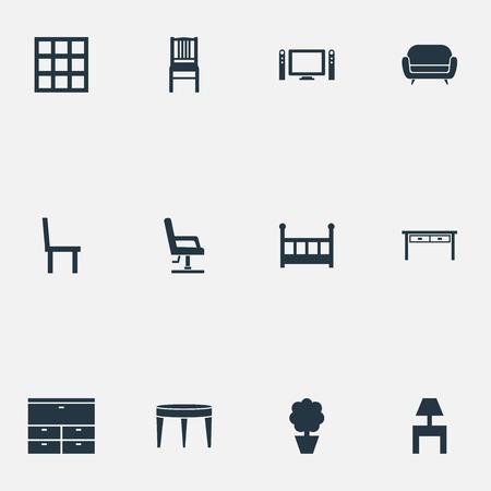 Elements Plant, Buffet, chaise et autres synonymes Coussin, enfants et casier. Vector Illustration Set d'icônes simples d'ameublement. Banque d'images - 83660327