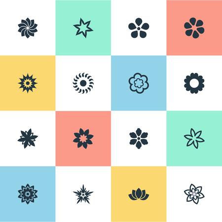Elementen Daisy, Sword Lily, Jasminoides en andere synoniemenvoorraad, Dahlia en Gardemiya. Vector illustratie Set van eenvoudige pictogrammen.