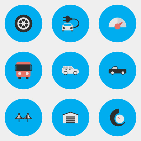 Elements Charge, Speedometer, Bridgework And Other Synonyms Pickup, Bridge And Wheel.  Vector Illustration Set Of Simple Traffic Icons.