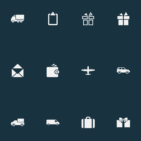 Elements Pay, Baggage, Plane And Other Synonyms Aircraft, Leather And Post.  Vector Illustration Set Of Simple Handing Icons. Illustration