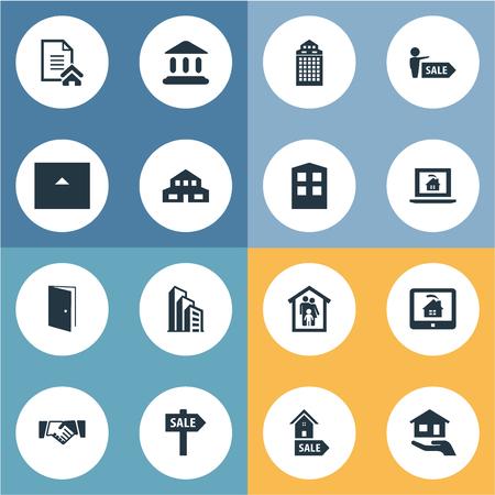 要素オンライン プロパティ、アパート、プロモーション、その他類義語保険契約と建物。 単純な不動産アイコンのベクター イラスト セット。
