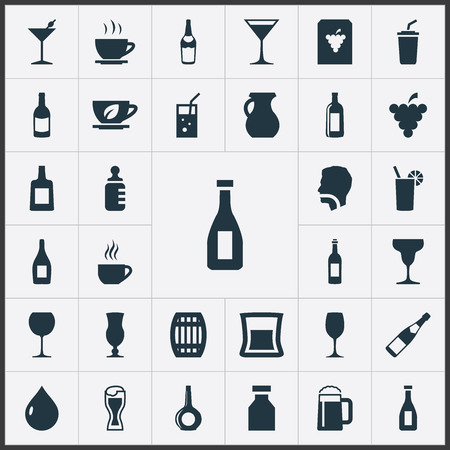 Elements Lager, Alcohol, Champagne And Other Synonyms Cocktail, Goblet And Baby.  Vector Illustration Set Of Simple Water Icons.