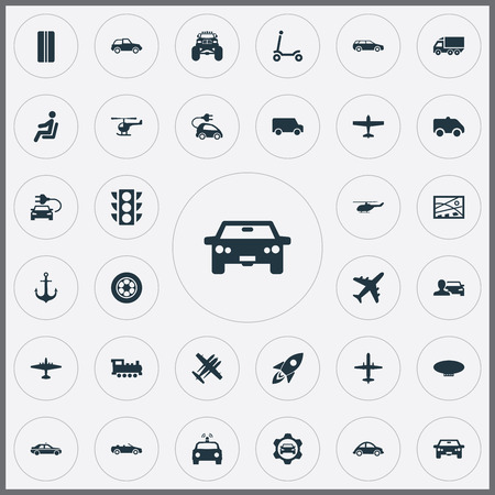 Elements Motor Lorry, City Plan, Airliner And Other Synonyms Aircraft, Stoplight And Ambulance.  Vector Illustration Set Of Simple Transportation Icons.